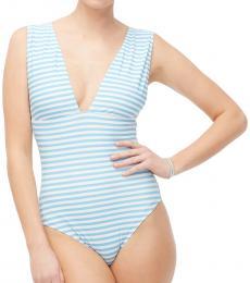 Cornflower White V-Neck One-Piece Swimsuit