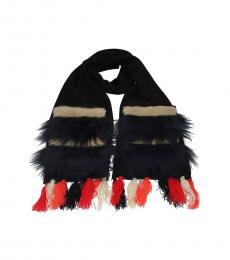 Black Mixed Fabric Scarf