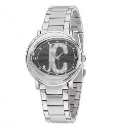 Silver Black Dial Watch