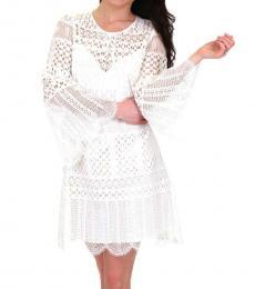 BCBGMaxazria White Lace Overlay Mini Dress