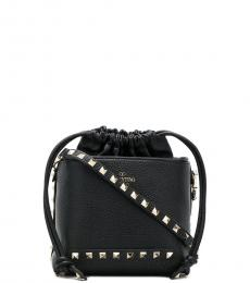 Valentino Garavani Black Studded Small Bucket Bag