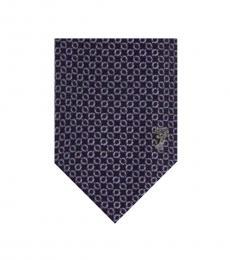 Versace Navy Lilac Printed Tie