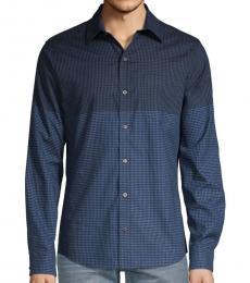 Dark Denim Stretch-Fit Gingham Shirt