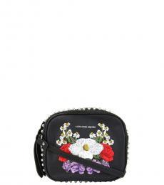 Alexander McQueen Black Studded Floral Mini Crossbody
