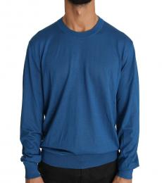 Dolce & Gabbana Blue Wool Cashmere Logo Pullover