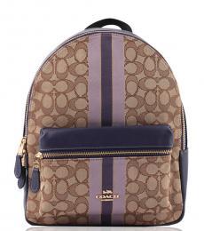 Coach Khaki/Purple Charlie Stripe Medium Backpack