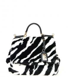 Dolce & Gabbana Black/White Sicily Eco Fur Small Satchel