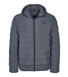 Fred Perry Dark Grey Logo Embroidery Hooded Jacket