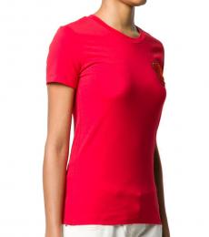 Emporio Armani Red Bear Embroidered T-Shirt