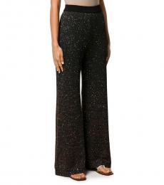 Black Sequin Embellished Palazzo Trousers
