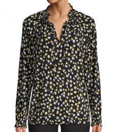 Black Floral Pullover Blouse