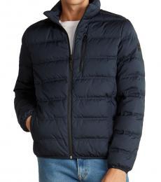 Dark Blue Full-Zip Down-Blend Jacket
