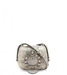 Light Grey Jewel Embellished Mini Crossbody