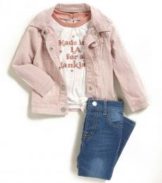 7 For All Mankind 3 Piece Jacket/T-Shirt/Jeans Set (Baby Girls)