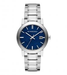 Burberry Silver Embossed Blue Dial Watch