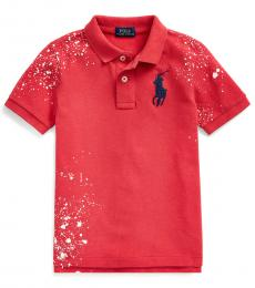 Little Boys Sunrise Red Distressed Polo
