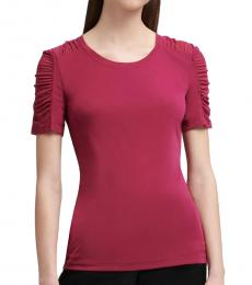 Maroon Solid Ruched Sleeves Top