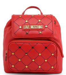 Love Moschino Red Criss-Cross Stitch Medium Backpack