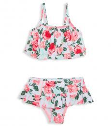 Betsey Johnson Little Girls Multicolor 2-Piece Floral Swim Set