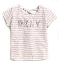 DKNY Little Girls Pink Stud Logo T-Shirt