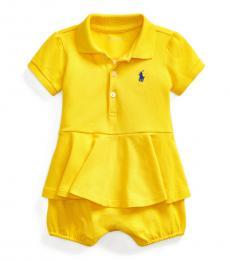 Ralph Lauren Baby Girls Lemon Peplum Bubble Shortall