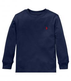 Ralph Lauren Little Boys Cruise Navy Long Sleeve T-Shirt