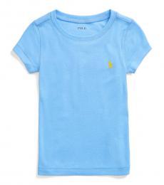 Little Girls Harbor Island Blue Cotton-Modal T-Shirt