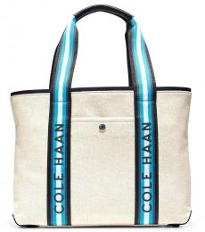 Cole Haan Natural Canvas Navy Summer Large Tote