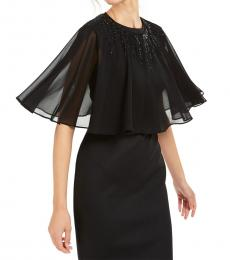 Calvin Klein Black Beaded Chiffon Cape
