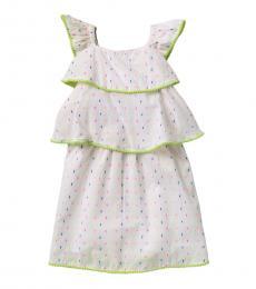 BCBGirls Little Girls White Dobby Dot Tiered Dress