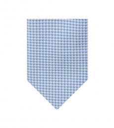 Blue-White Houndstooth Tie & Pocket Square Set