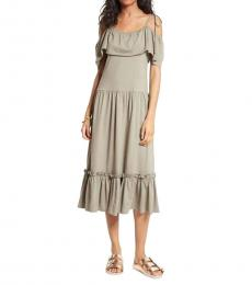 Grey Ruffle Detail Dress