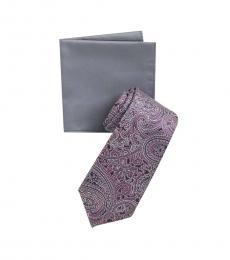 Michael Kors Purple-Grey Paisley Tie & Pocket Square Set