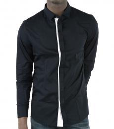 Emporio Armani Dark Blue Cotton Popeline Shirt