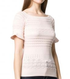 Nude-Pink Pointelle Knit Ruffle-Cuff Top