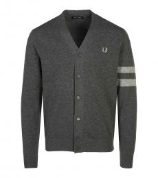 Dark Grey Logo V-Neck Cardigan