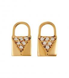 Michael Kors Gold Padlock Stud Earrings