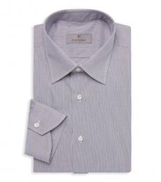 Canali Dark Grey Grid-Print Cotton Dress Shirt