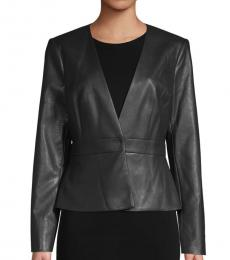 BCBGMaxazria Black V-Neck Faux Leather Jacket