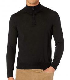 Black Zip Merino Wool Sweater