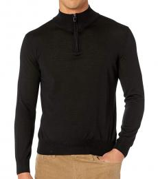 Canali Black Zip Merino Wool Sweater