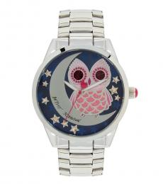 Betsey Johnson Silver Owl Crystal Watch