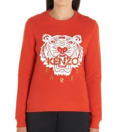 Kenzo Red Cotton Logo Sweatshirt