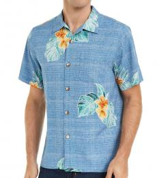 Blue Classic-Fit Floral-Print Shirt
