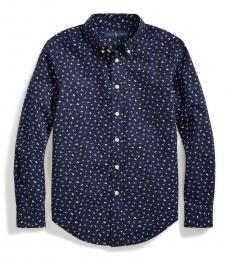 Ralph Lauren Boys Blue Nautical Seersucker Shirt