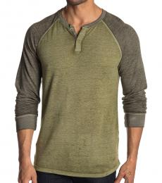 Lucky Brand Olive Long Sleeve Colorblock Henley