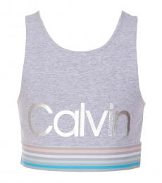Calvin Klein Girls Grey Logo Stripe Back Wrap Sports Top