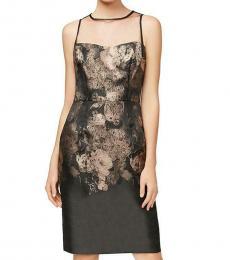 Betsey Johnson Black/Gold Illusion Evening Party Dress