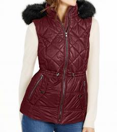 Michael Kors Cherry Hooded Faux-Fur-Trim Puffer Vest
