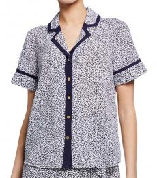 Michael Kors Blue Pattern Contrast Trim PJ Top